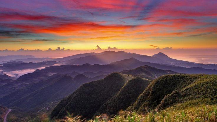 Landscapes Mountains Range Sunrise Colors Nature Mountain Sunset Wallpaper Desktop Hd