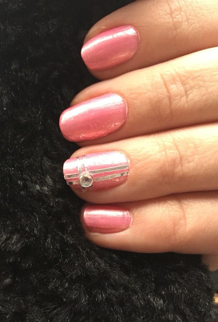 Pink, silver, rhinestone :)