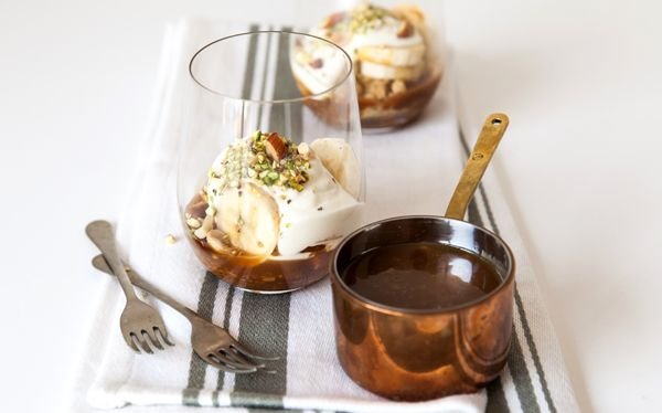Salted caramel and banofee pots. How delightful.