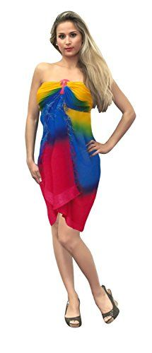 """Bathing Suit Swimwear Swimsuit Cover up Sarong Womens Pareo Wrap Dress Dark Blue. Do YOU want SARONG in other colors Like Red ; Pink ; Orange ; Violet ; Purple ; Yellow ; Green ; Turquoise ; Blue ; Teal ; Black ; Grey ; White ; Maroon ; Brown ; Mustard ; Navy ,Please click on BRAND NAME LA LEELA above TITLE OR Search for �LA LEELA� in Search Bar of Amazon. Wrap Around LENGTH 72"""" [182 cms] WIDTH 42"""" [106 cms]. SOFT Sarong with PLENTY OF Wrap Around MATERIAL (Provides you good coverage or less…"""
