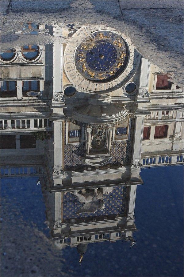 St Mark's Clocktower reflection - San Marco sestiere - Venezia - Veneto - Italy