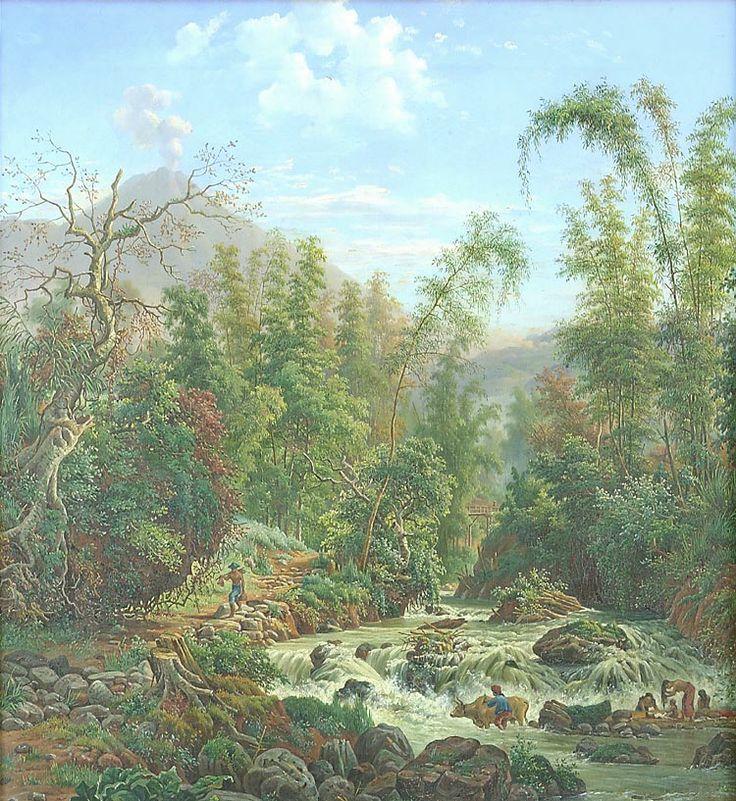 Olieverfschildering voorstellend een waterval in de rivier Metro bij Malang door M.E.H.R. van den Kerkhoff, 59 x 53 cm