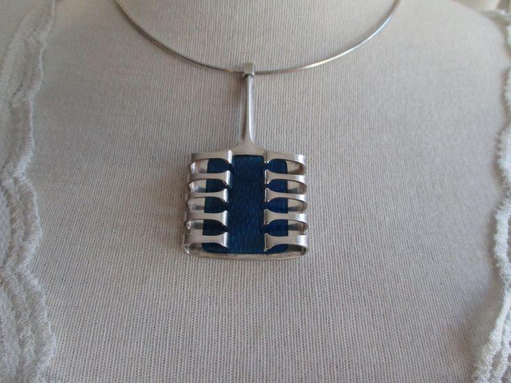 Blue silver enamel pendant