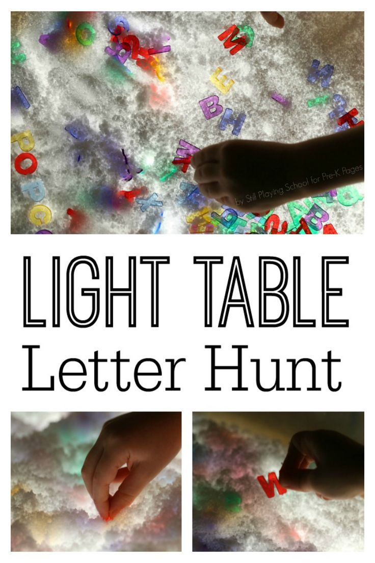 A fun winter activity using the light table; explore instant snow powder, add water, and mix in alphabet letters for a fun sensory experience; for preschool, pre-k, and kindergarten