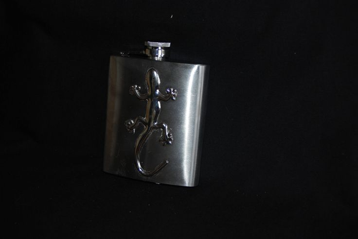 Lizard Gecko metal hip flask , stainless steel flask 7 oz - grooms gift , gifts for him , Liquor Flask , wings  accessory by Spritejewelry on Etsy
