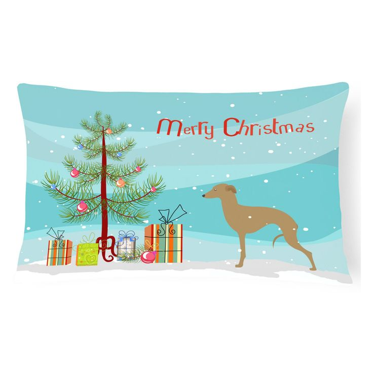 Carolines Treasures Italian Greyhound Merry Christmas Tree Rectangle Decorative Outdoor Pillow - BB2932PW1216