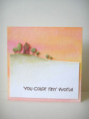 clean and simple card ... gorgeous colors using Distress Inks ... luv how Donna colore the Memory Box Modern Landscape die ...