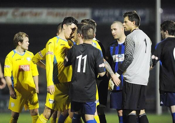 Jason Lee having a chat for King's Lynn Town v Worksop Town 10 /12/13
