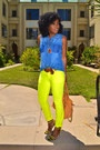 Sleeveless Denim Shirt + Neon Skinnies + Neon Sandals...I need this girls closet, stat...love everything about this 'fit from the hair 2 the toenails, lol.