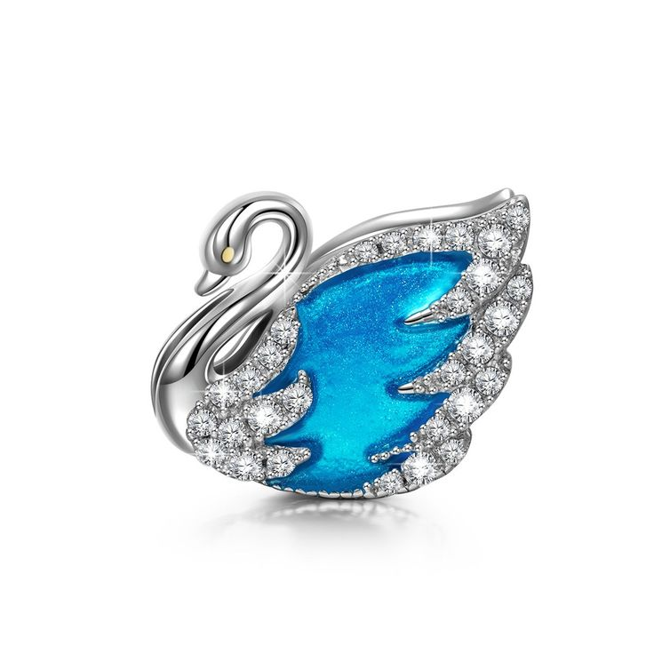 """NinaQueen """"Swan Princess"""" 925 Sterling Silver Lake Blue Hand-made Charms. Magic Charms: Compatible with Pandora charms, Biagi, Troll and Chamilia European bracelets. Fit for both necklace and bracelet. Measurement Attention: Please kindly check the second picture about the size before purchasing. Perfect Gift: Comes in a fine gift box. Twinkle Twinkle surprise! Ideal gifts for Valentines Day, Mothers Day, Christmas Day, Anniversary Day and Birthday to your girlfriend, wife, mom and…"""