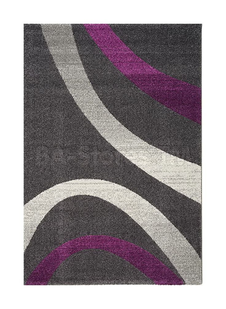 Ashbury Rug With Light Gray And Purple Curves