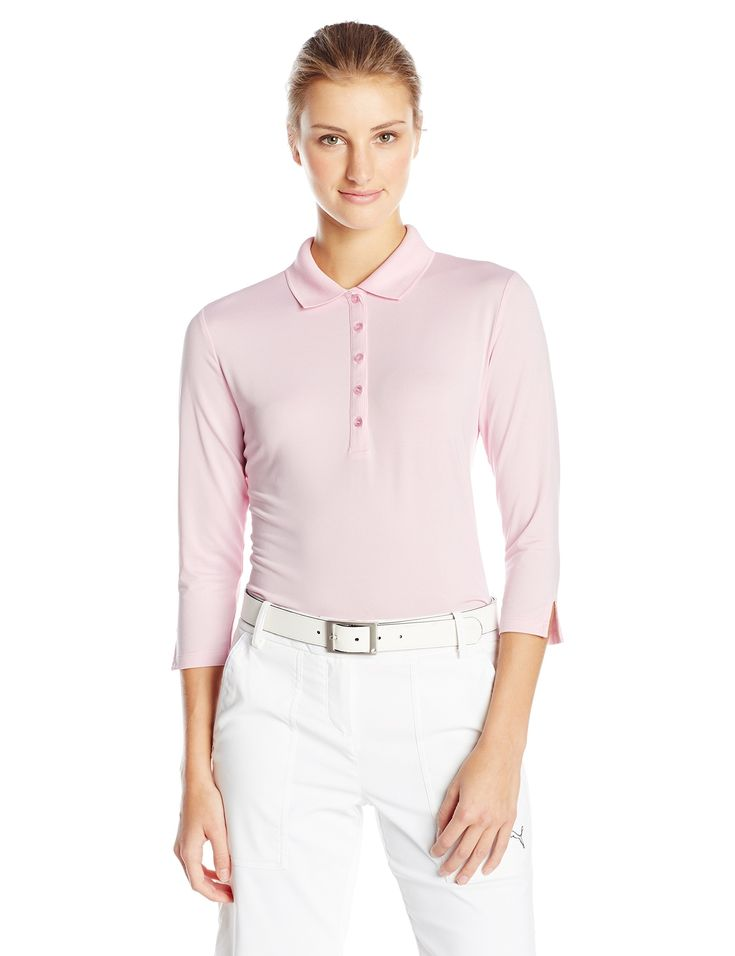 Callaway Women's Golf Performance Three Quarter Sleeve Polo Shirt, Pink Lady, Small. Opti-Dri: Transfers moisture away from the body to aid in evaporation. Opti-Shield 50: creates a layer of protection from the sun's harmful rays. Opti-Stretch: fabric features interwoven layers of spandex to ensure maximum range of motion so the garment moves with the golf swing. Machine wash cold, Tumble dry.