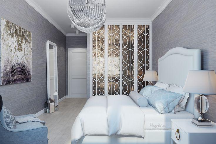 Серая спальня в стиле современная классика. Дизайн-проект двухкомнатной квартиры в стиле соврменная класика Санкт-Петербурге (СПб)   Дизайн интерьера от студии Чердак