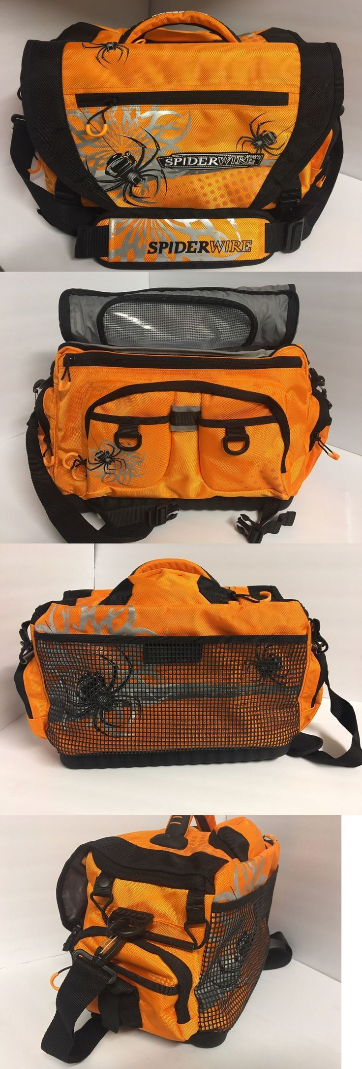 Fishing tackle craft supplies - Tackle Boxes And Bags 22696 Large Spiderwire Orange Fishing Tackle Bag Buy It