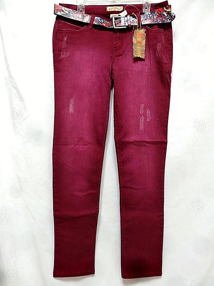YMI jeans juniors Stretch distressed cranberry wash belted slim jeans 15 17 NEW #YMI #Slim