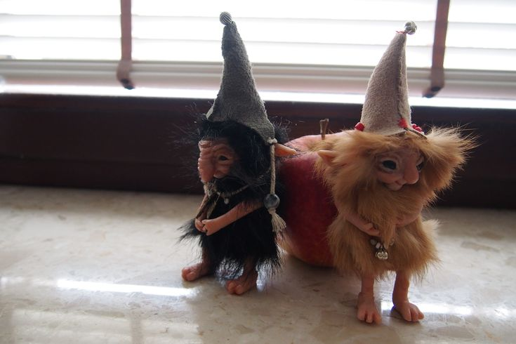 OOAK fantasy art dolls gnomes little trolls GIRLUK and GABRI by Muyestillo