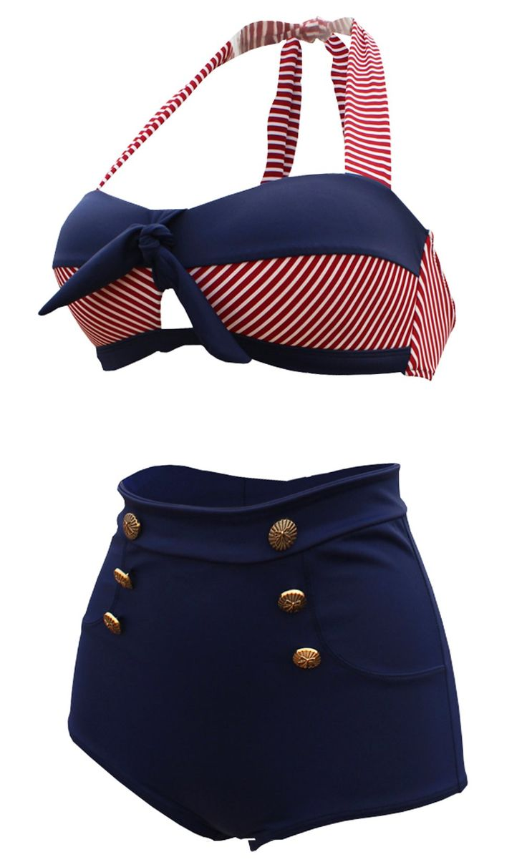 Cocoship Retro Navy Blue Short Red White Stripe High Waist Bikini Halter Swimwear Bathing Suit XXXL(FBA)