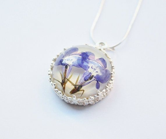 Lilac Blue Pressed Flower Necklace Real Lobelia Flower Resin Necklace White Silver 925 Twins Sister