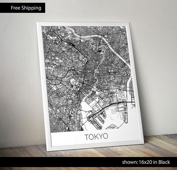 Tokyo Map Print by ShapeofLove on Etsy