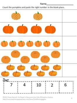 Strong counting skills will help students progress to a strong math foundation. This in turn benefits them as they advance through the grades. Practicing their counting skills with this Counting Fun With Pumpkins Cut and Paste worksheet packet will make it fun. Counting Fun with Pumpkins consists of 14 worksheets using pumpkin graphics as follows; Match the numbers Count the jack-o-lanterns Count the pumpkins Add the Pumpkins Subtract the Pumpkins Pumpkins on the vine