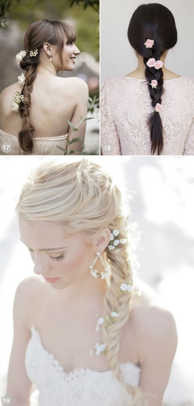 50 Romantic Wedding Hairstyles Using Flowers by Bridal Musings.  Great pictures of a variety of styles with links to wedding pictures to see how the hair fit into the overall scene.