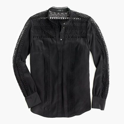 jcrew silk and lace blouse