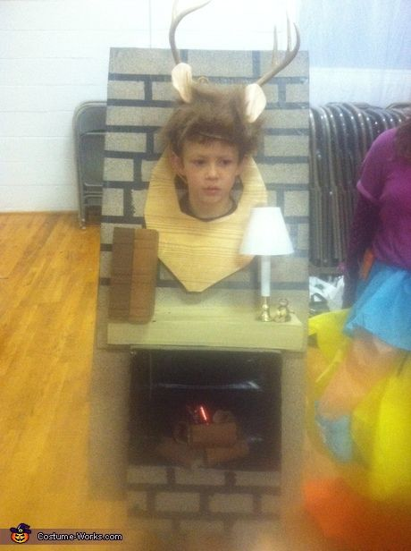 Deer Head over the Fireplace Clever costumes for kids