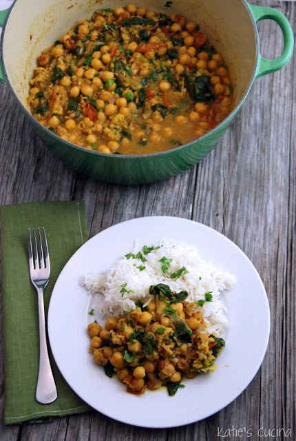 Curry de espinaca y garbanzos