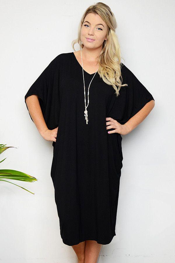 Plus Size Black Batwing T-Shirt Dress