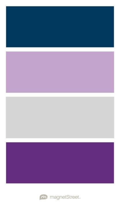 Navy, Lilac, Silver, and Plum Wedding Color Palette - custom color palette created at MagnetStreet.com