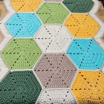 Crochet a Beautiful Hexagon Table Runner (or blanket) great tutorial by Wink showing joining and edging, with link for the hexagon used.