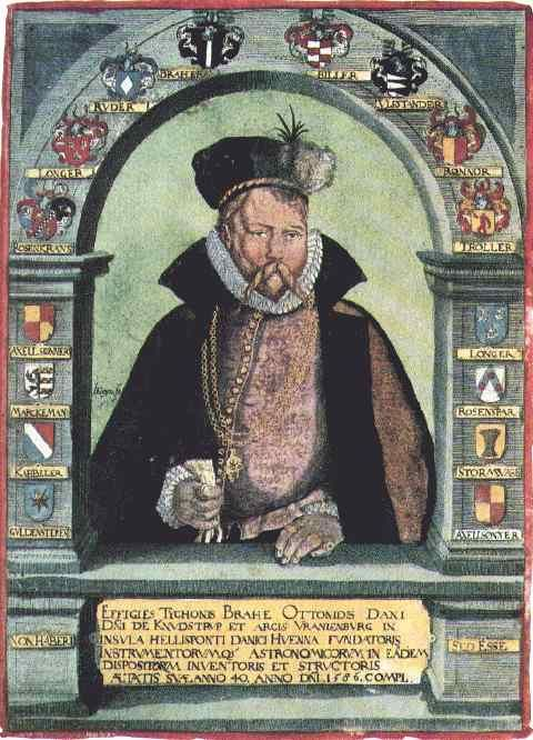 1586: Portrait of Tycho Brahe (1546-1601)    surrounded by the arms of his noble ancestors.