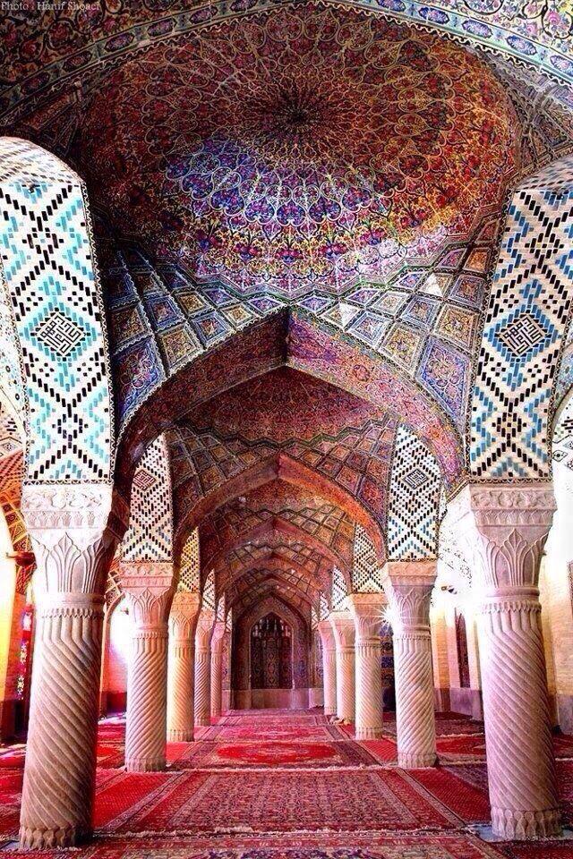 The Nasir-ol-Molk Mosque/ Pink Mosque. Shiraz, Iran. 1888. Islamic Architecture.  Muhammad Reza Kashi Paz-e-Shirazi, Muhammad Hasan-e-Mema
