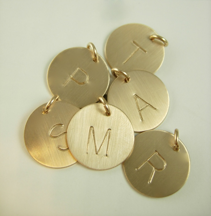 Necklace Initial Charm-Gold Initial Charm. $15.00, via Esty.  with husbands & daughters first initial