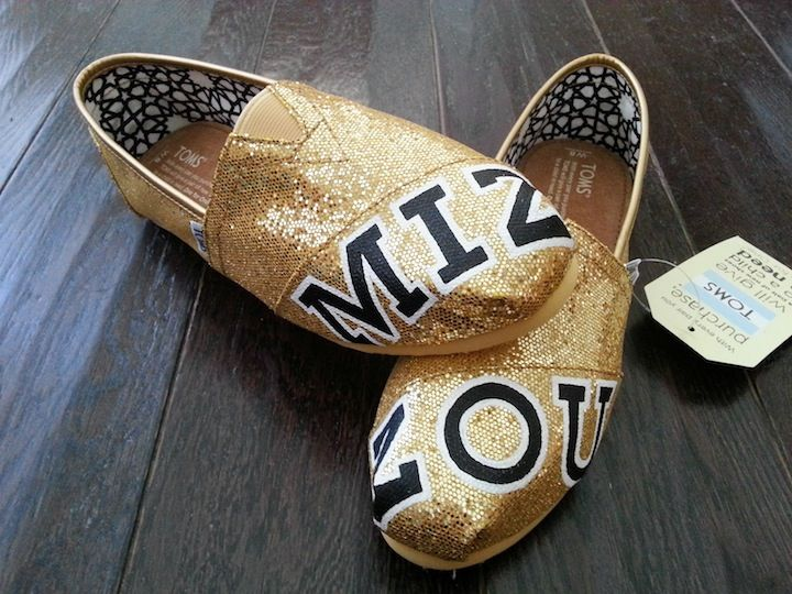 Black and Gold Glitter Mizzou TOMS Shoes by LaQuist - order by request at www.etsy.com/shop/laquist #mizzou #paintedshoes #paintedtoms #customshoes #customtoms #laquist