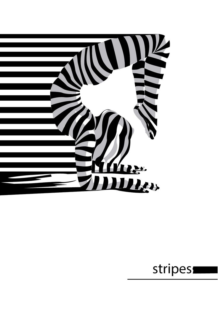 vector, stripe, pose, woman, optical illustion, black and white