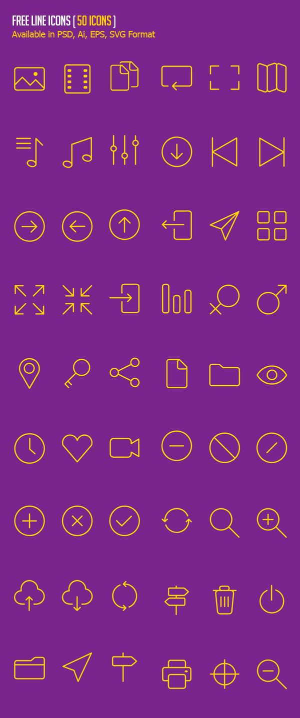 Free Line Icons - (50 Icons) #androidicons #freeicons #psdicons #vectoricons #ios8icons