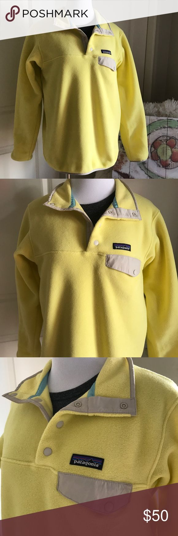 Patagonia Lightweight Snap T Fleece Pullover Lightweight Synchilla Pullover from Patagonia. Bright and cheerful yellow color, Sz S. Patagonia Jackets & Coats