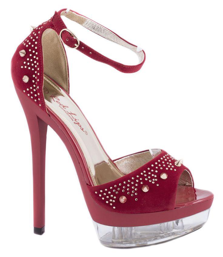 Sandale platforma - Sandale rosii cu platforma AB889R - Zibra