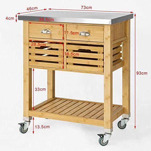 sobuy servierwagen k chenwagen rollwagen mit edelstahlplatte fkw40 n k che. Black Bedroom Furniture Sets. Home Design Ideas