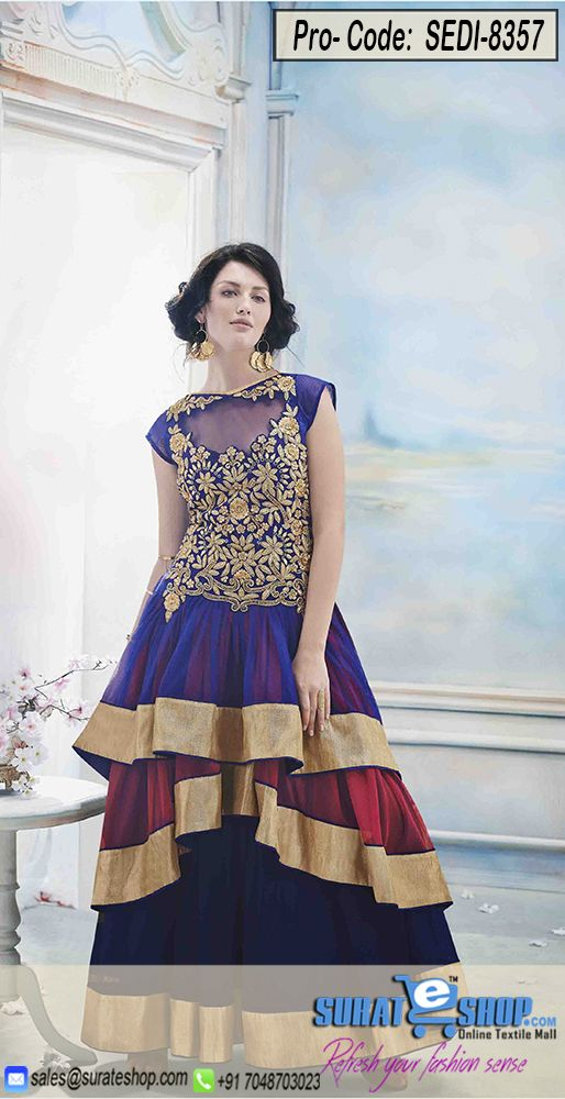 Be An Angel & Create, Establish A Smashing Effect On Every Person By Wearing This Blue & Maroon Net Gown. Beautified With Bead, Resham, Stones Work All Synchronized Properly With All The Design And Design Of The Attire. Paired With A Matching  Visit: http://surateshop.com/product-details.php?cid=2_27_47&pid=11972&mid=0