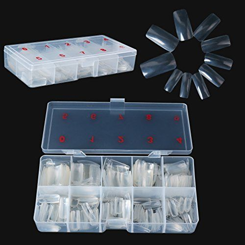 Elite99 500pcs Nails Tips Oval Full Cover False Acrylic Nail Art Tips 10 Sizes with Box Perfect Length for Nail Salons and DIY Nail Art at Home Clear Color -- Visit the image link more details. Note:It is Affiliate Link to Amazon.