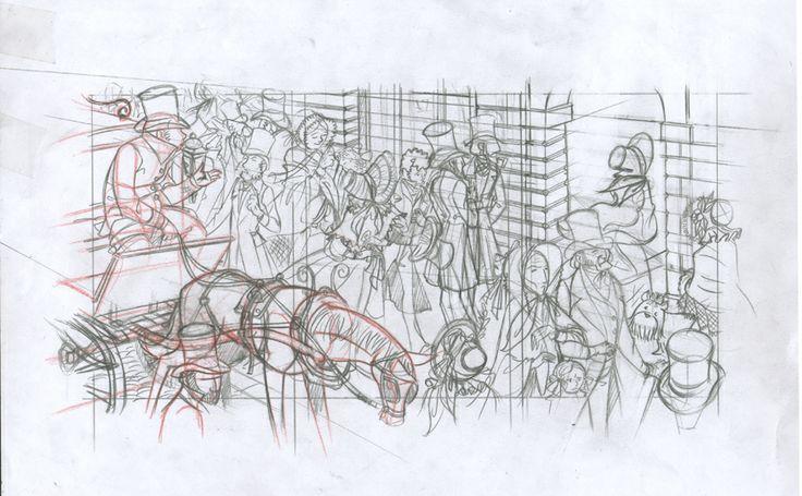 Dibujo viñeta3 p3 c2: Lápiz rojo y de grafito sobre papel dinA4: 25€. David Belmonte ©
