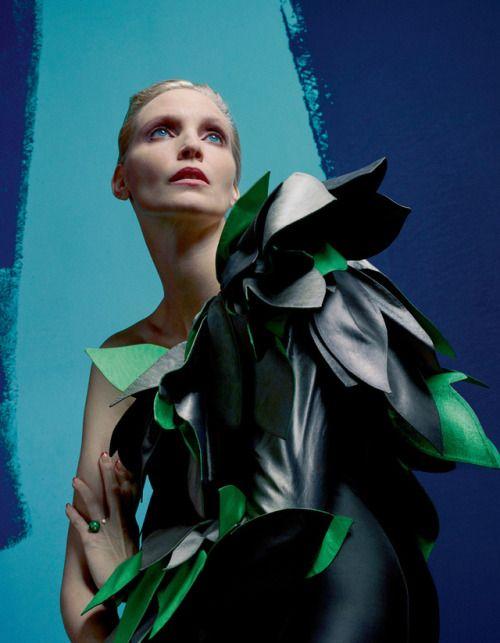 Nadja Auermann by Matthew Stone for A Magazine S/S 2015. Fashion...