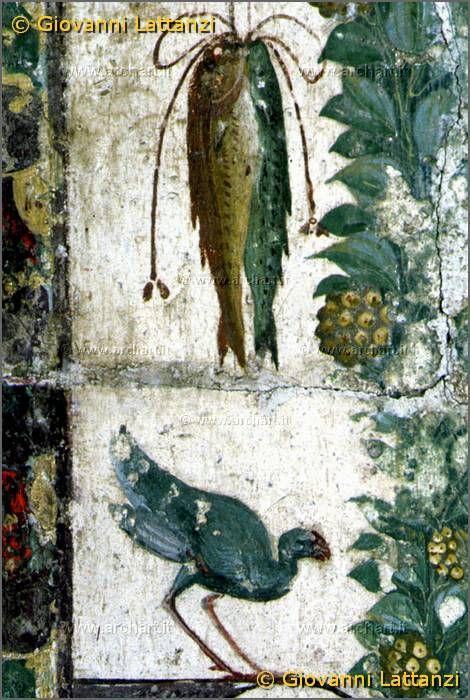 Fresco depicting fish, birds and fruits. Pompei, casa della Regio VI, insula occidentale