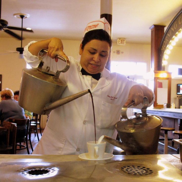 Cafe au Lait Preparation at Morning Call Coffee Stand, Metairie, Louisiana. Best Cafe au Lait Ever!!!!!