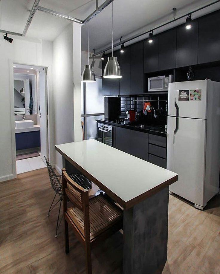 """""""Cozinha americana all black by @spestudio. ❤ { @andrelaiza} #decoraçãopravocê #cozinhadpv #decorspestudio"""""""
