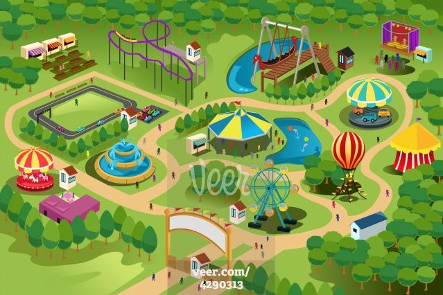 Amusement park map Stock Illustration