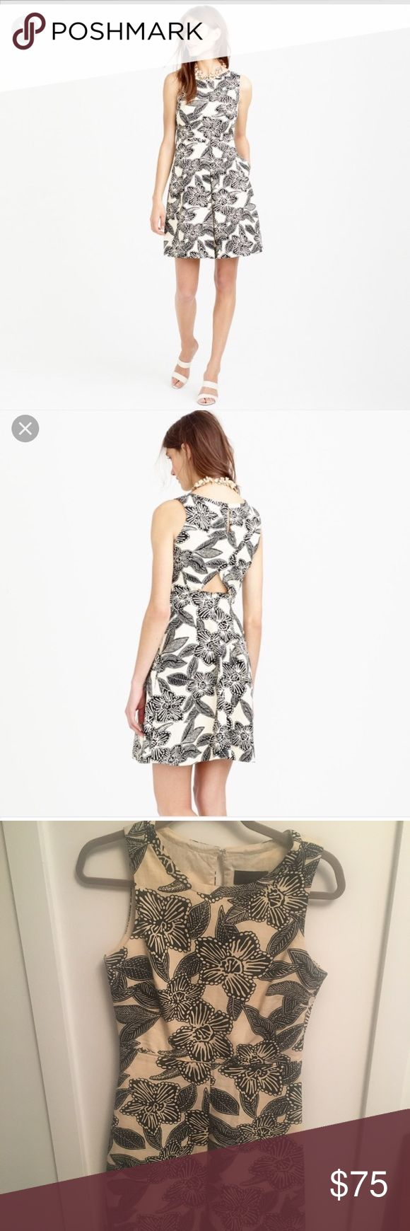 J. Crew Polynesian Dress Black and off white Polynesian print dress with fun cutout in the back! Size 2 and lightly worn. Falls above the knee. J. Crew Dresses Mini
