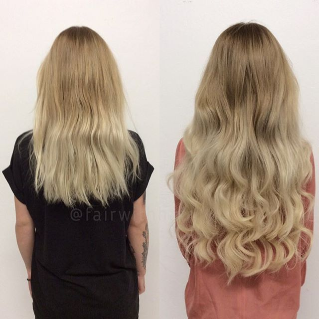Sew in hair with blond brazilian hair extensions